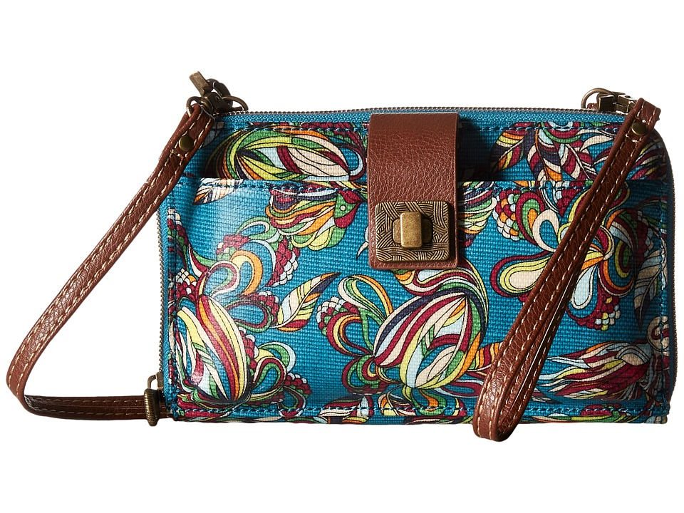 Sakroots - Artist Circle Large Smartphone Crossbody (Teal Treehouse) Clutch Handbags