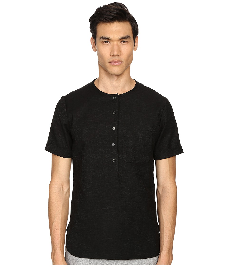 Matiere Maas Japanese Textured Slub Tunic Black Mens Clothing
