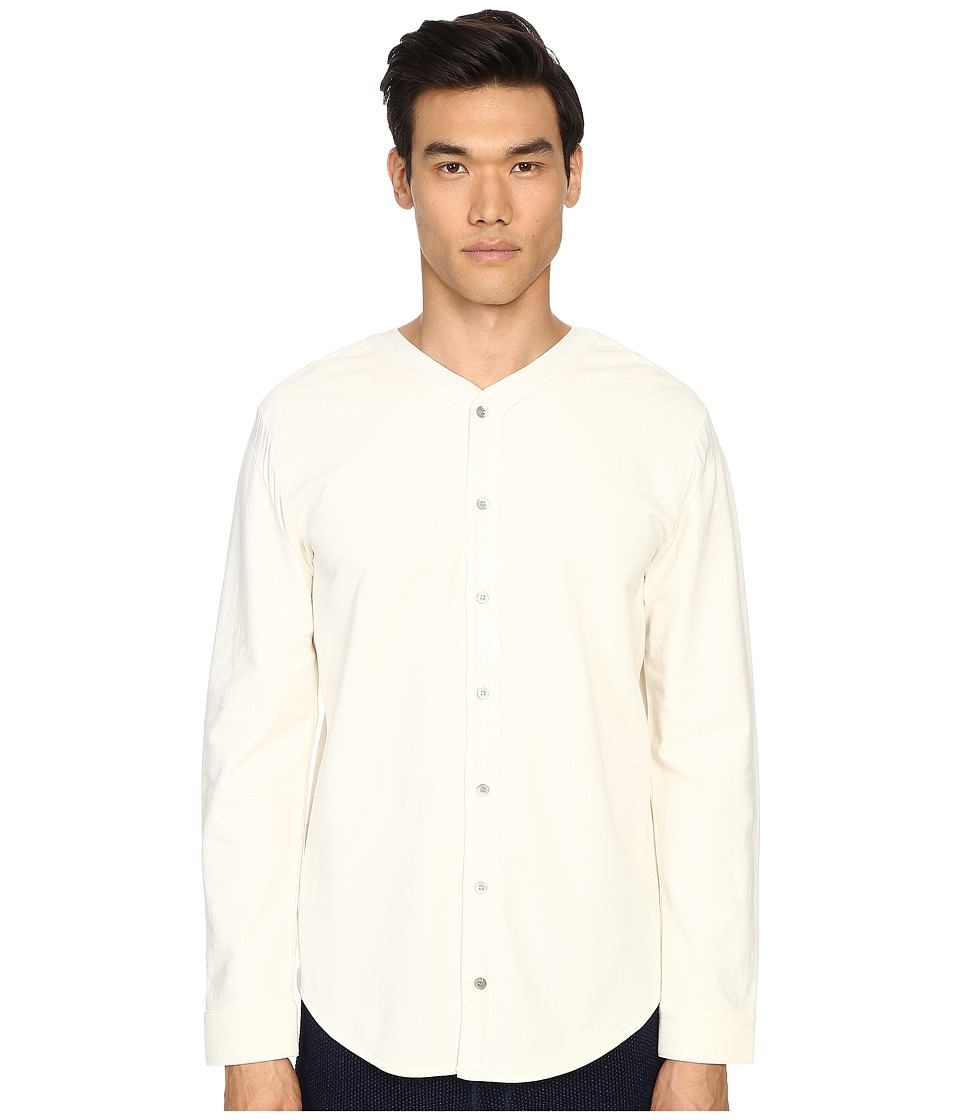 Matiere Bigsby French Terry Button Up White Mens Short Sleeve Button Up