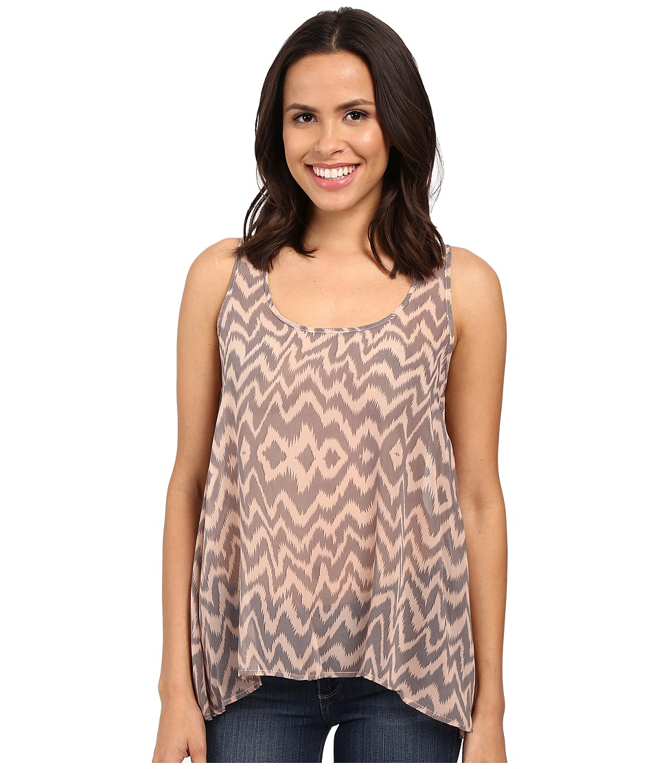 Stetson Border Print Chiffon Tank Top Grey Womens Sleeveless