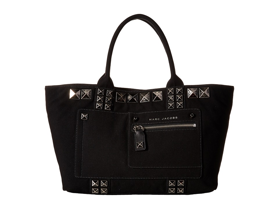 Marc Jacobs Canvas Chipped Studs Tote Black Tote Handbags