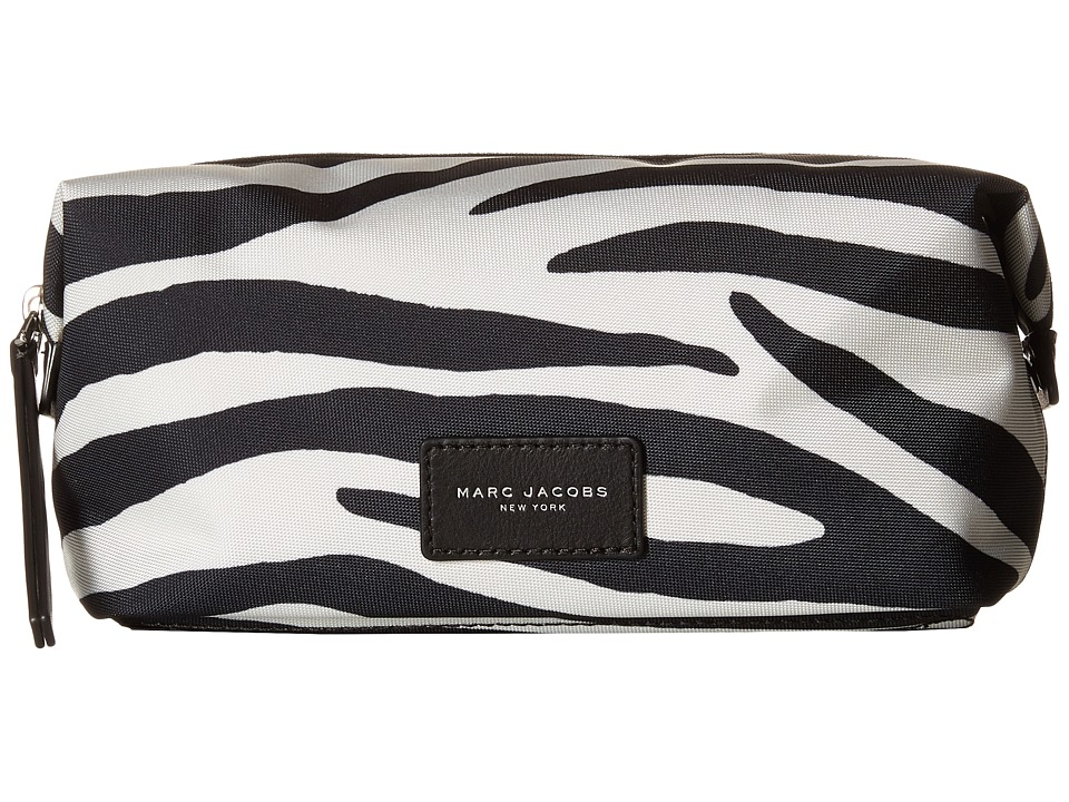 Marc Jacobs - Zebra Printed Biker Cosmetics Large Landscape Pouch (Off-White Multi) Travel Pouch
