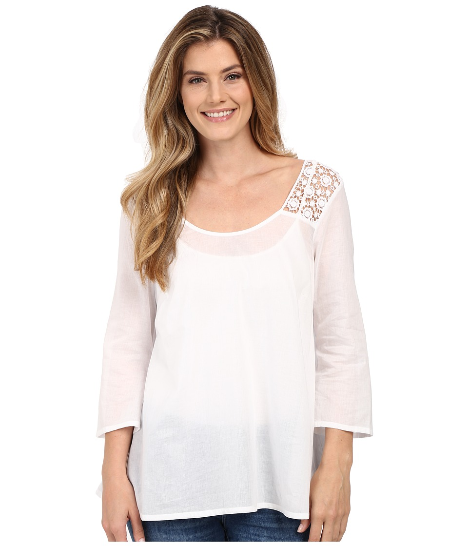 Stetson Solid Voile Long Sleeve Peasant Top White Womens Blouse