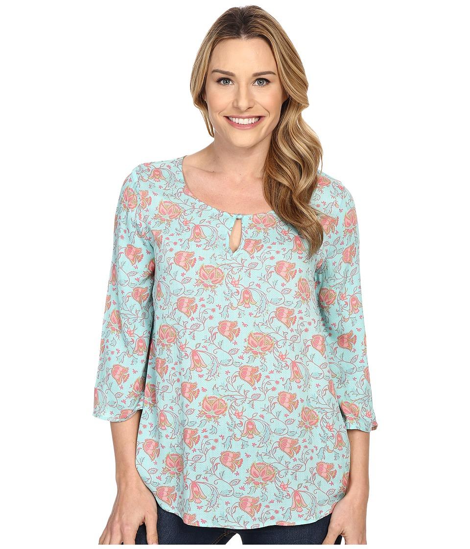 Stetson Tulip Print Long Sleeve Peasant Top Blue Womens Blouse