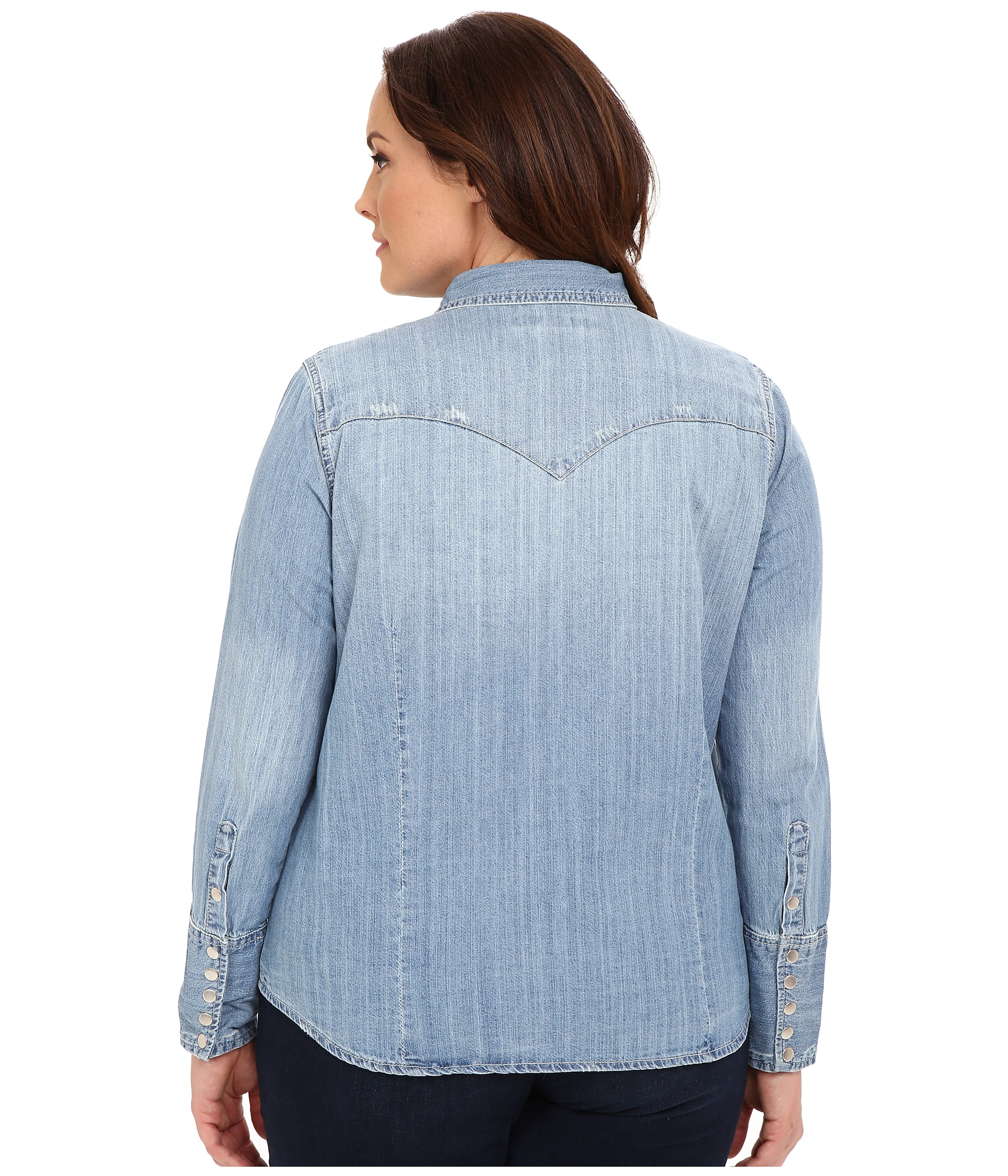 stetson plus size light blue denim long sleeve western