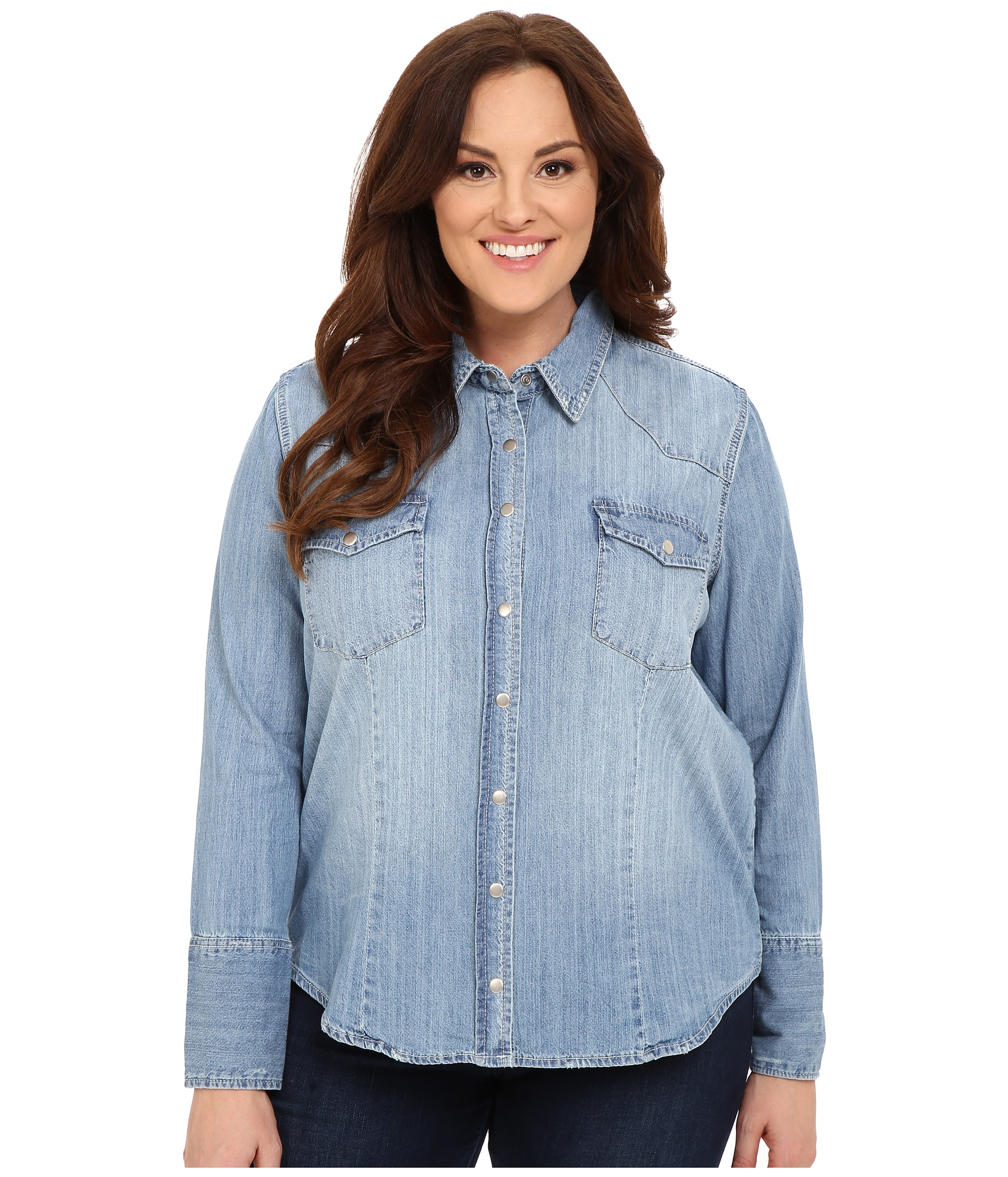 Stetson plus size light blue denim long sleeve western for Ladies light denim shirt