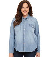 Stetson - Plus Size Light Blue Denim Long Sleeve Western Shirt