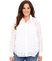 Stetson - Plus Size Optic White Eyelet Long Sleeve Western Shirt