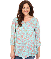 Stetson - Plus Size Tulip Print Long Sleeve Peasant Top