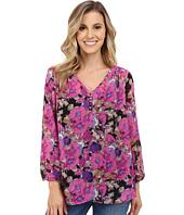 Stetson - Floral Print Poly Chiffon Long Sleeve Blouse