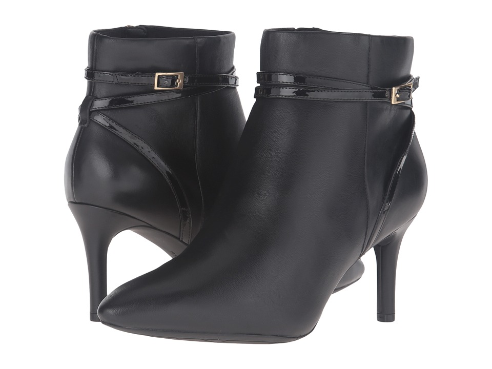 Rockport Total Motion 75mm Strap Bootie (Black Leather) Women