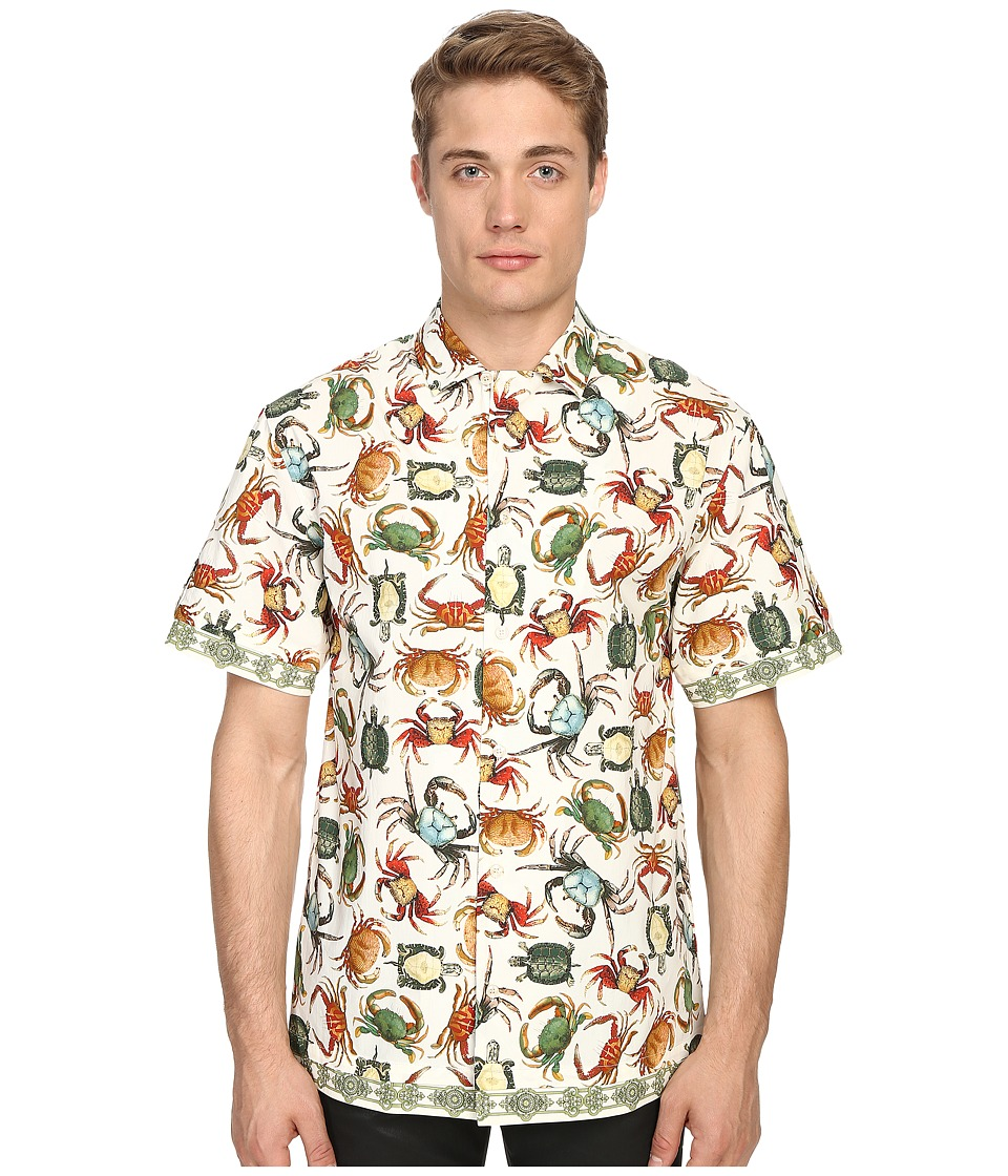 Versace Collection Sea Creature Short Sleeve Button Up Print White Mens Short Sleeve Button Up