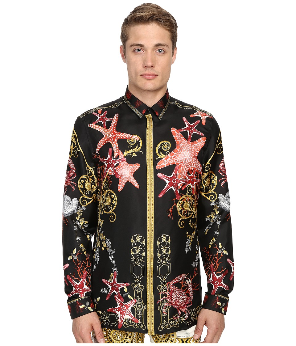 Versace Collection Baroque Starfish Silk Button Up Print Black Mens Long Sleeve Button Up