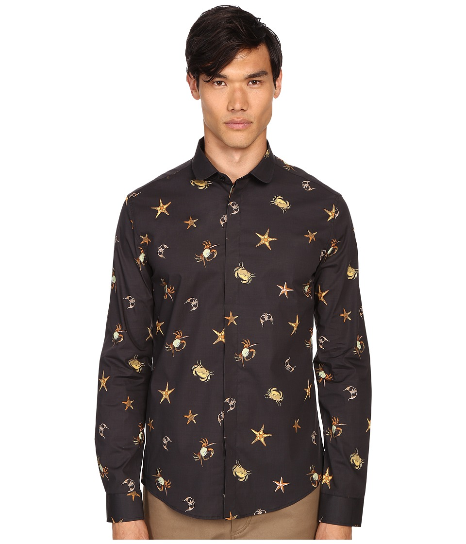 Versace Collection Sea Creature Long Sleeve Button Up Print Black Mens Short Sleeve Button Up