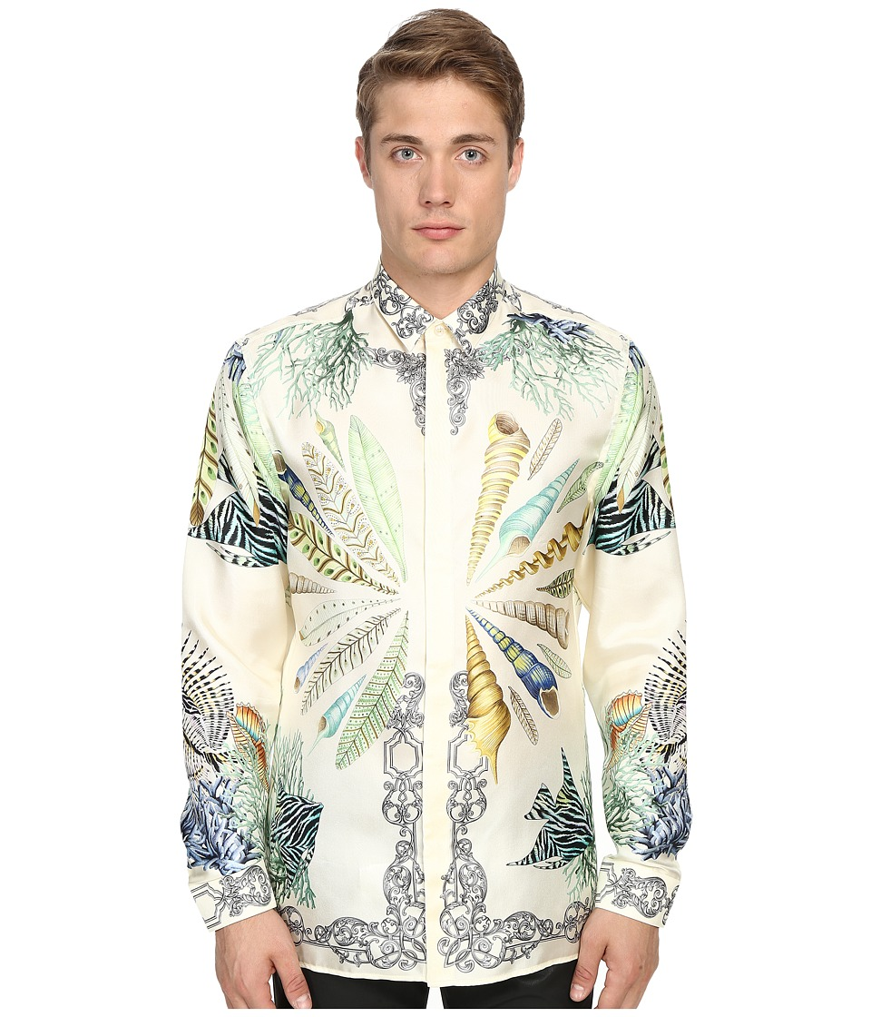 Versace Collection Conch Shell Silk Button Up Print White Mens Long Sleeve Button Up
