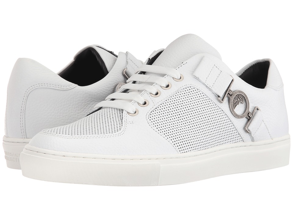 Versace Collection Leather and Perforated Side Medallion Sneaker White/Antique Nickel Mens Shoes
