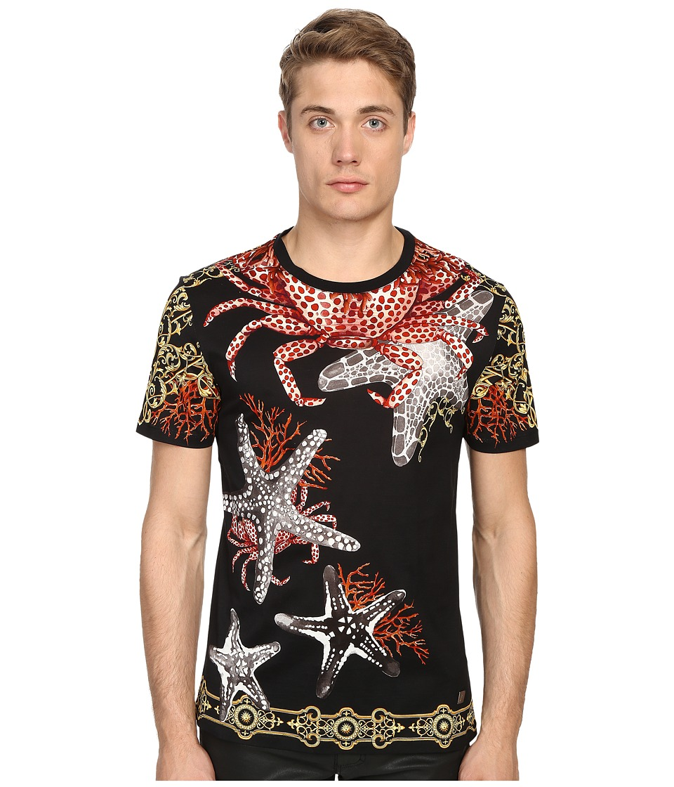 Versace Collection Baroque Starfish T Shirt Print Black Mens Short Sleeve Pullover