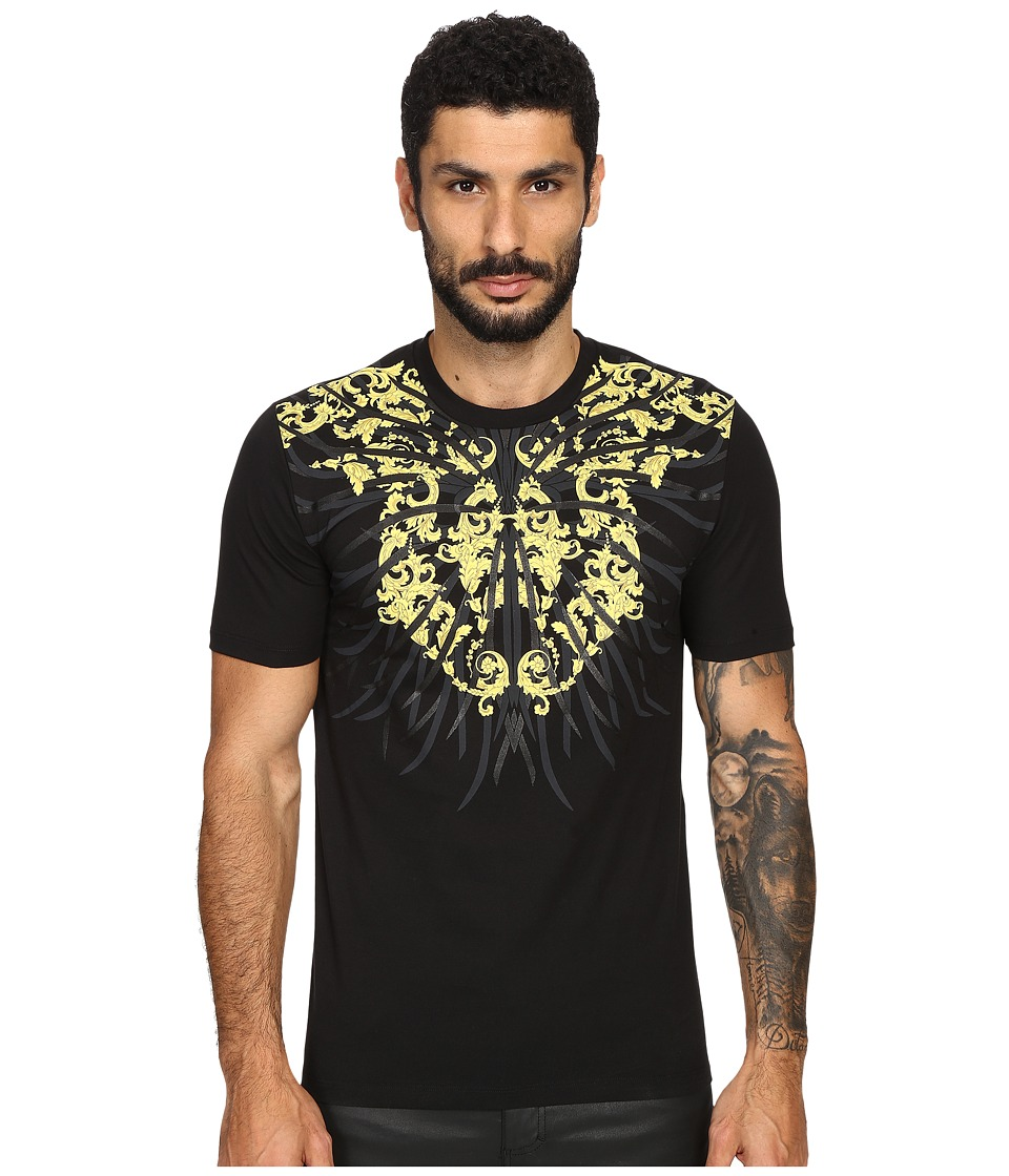 Versace Collection Sea Roots T Shirt Print Black Mens T Shirt