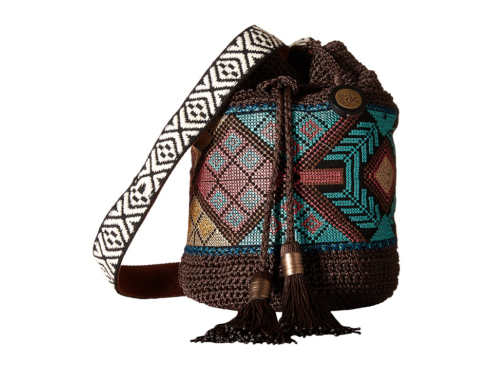 The Sak - Sayulita Drawstring (Brown Tribal) Drawstring Handbags