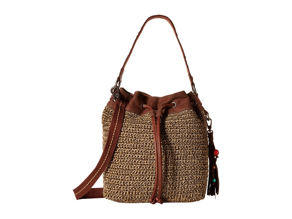 The Sak - Ukiah Crochet Drawstring (Brown Static) Drawstring Handbags