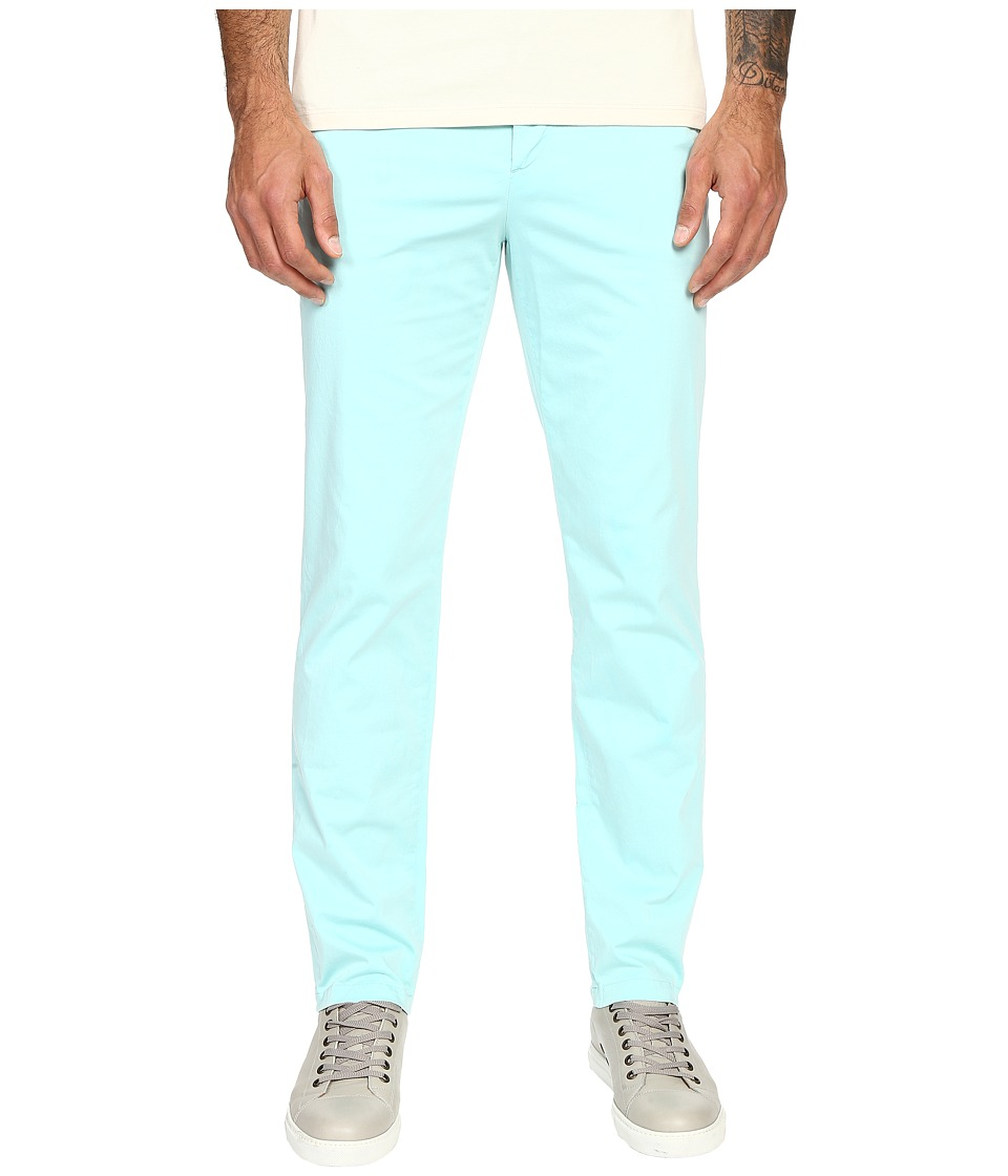Versace Collection Front Pleat Stretch Chino Pants Aqua Mens Casual Pants