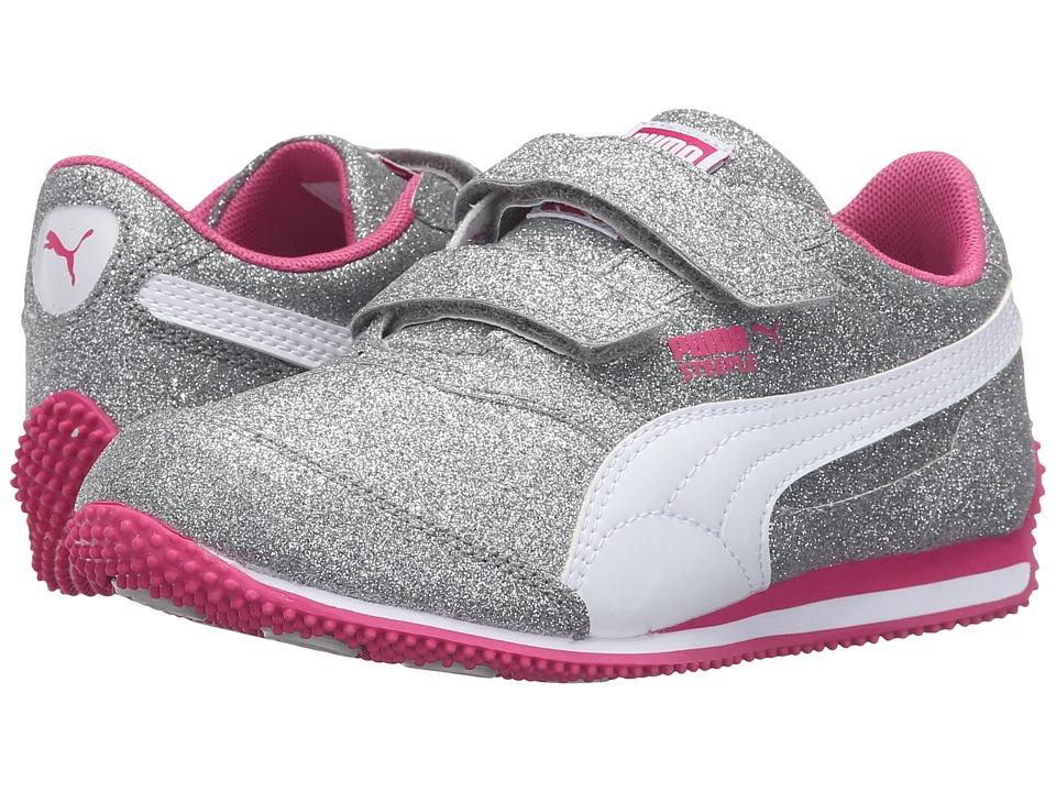 Puma Kids - Steeple Glitz Glam V PS (Little Kid/Big Kid) (Puma Silver/Puma White/Fuchsia Purple) Girls Shoes