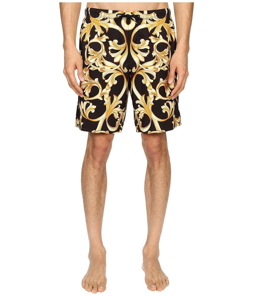 Versace Baroque Nylon Long Trunk Black/Gold Mens Underwear