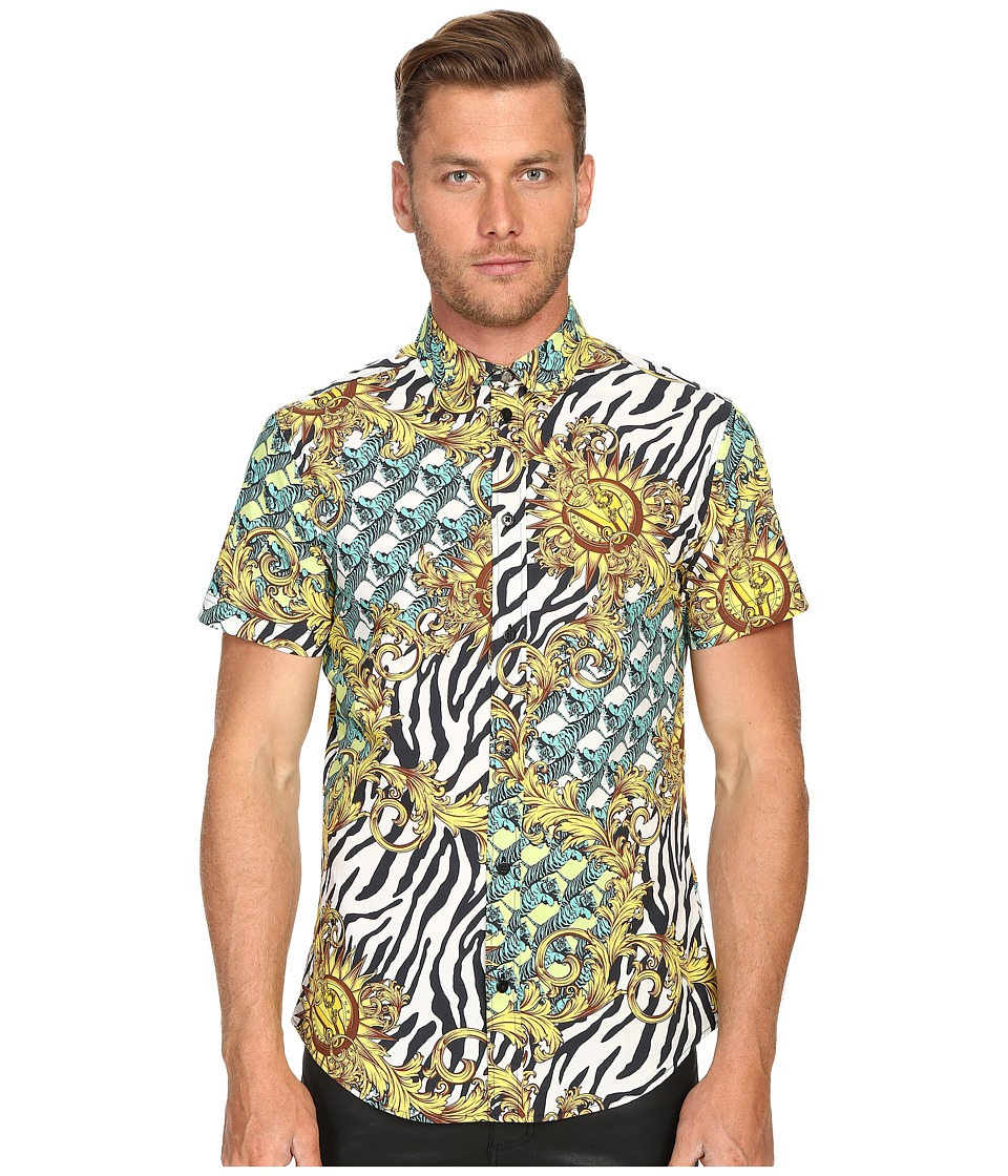 Versace Jeans All Over Baroque Tiger Print Short Sleeve Button Up Gold Melange Mens Short Sleeve Button Up
