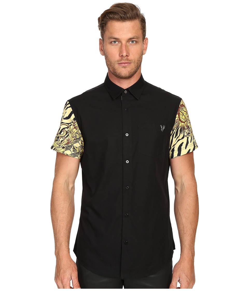 Versace Jeans Baroque Tiger Print Sleeves Short Sleeve Button Up Black Mens Short Sleeve Button Up