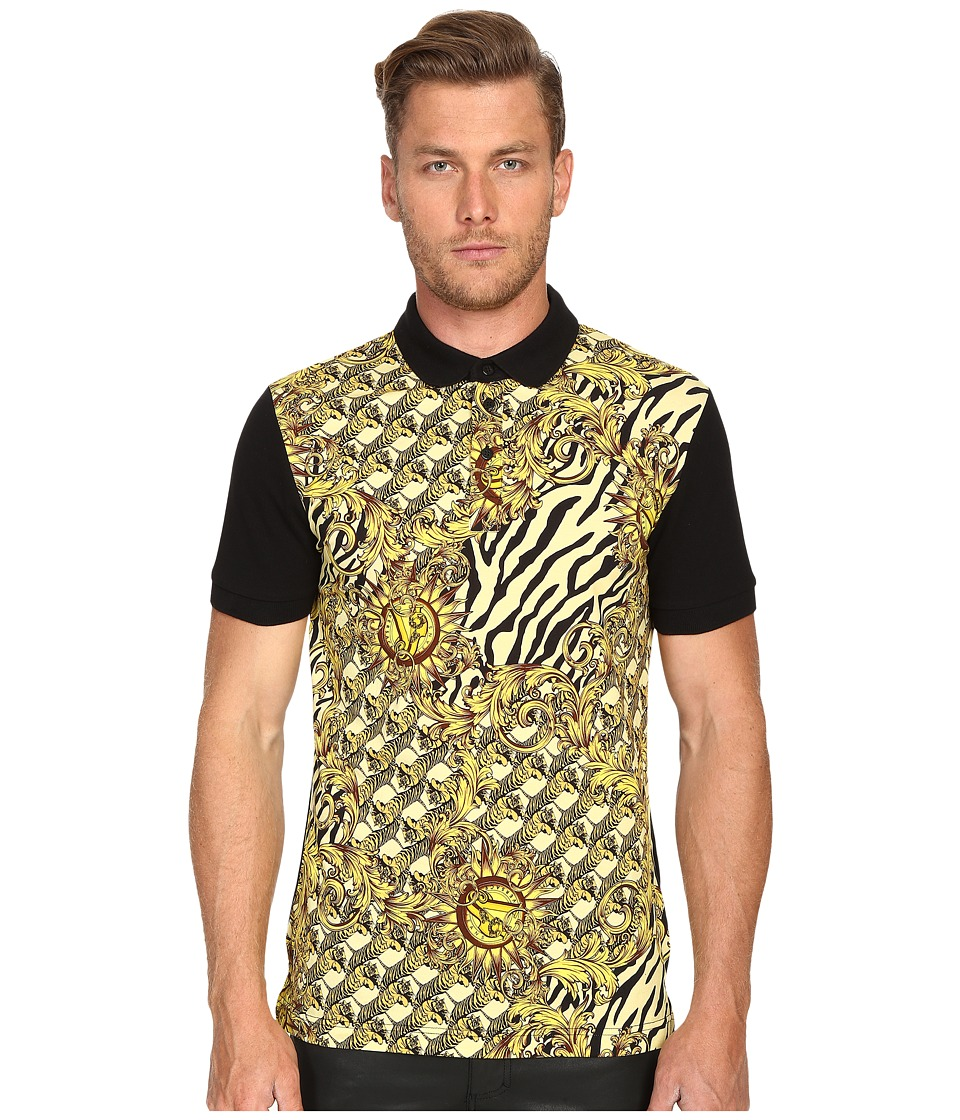 Versace Jeans All Over Baroque Tiger Print Polo Black Mens Clothing
