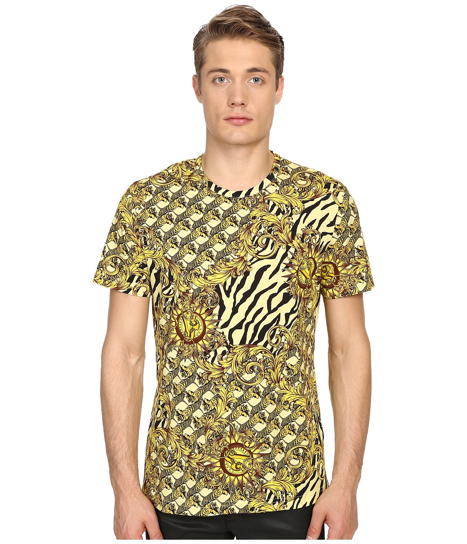 Versace Jeans All Over Baroque Tiger Print T Shirt Gold Melange Mens Short Sleeve Pullover