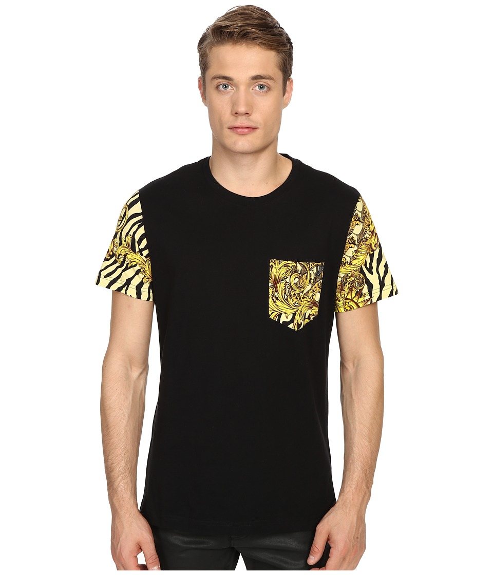 Versace Jeans Baroque Tiger Print Pocket T Shirt Gold Melange Mens Short Sleeve Pullover