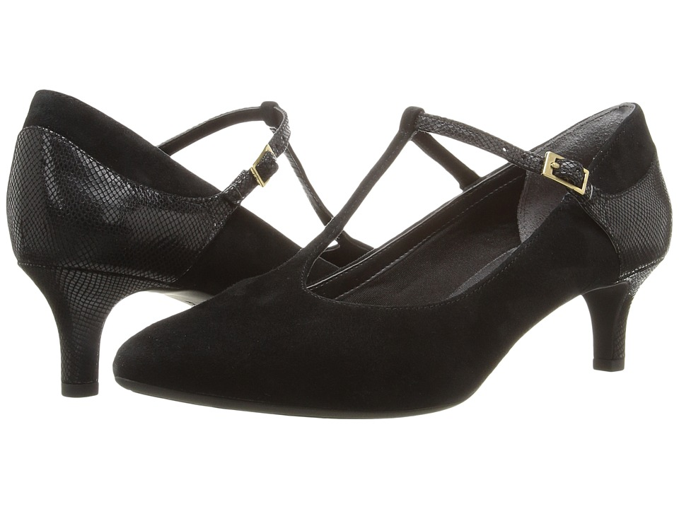 Rockport Total Motion Kalila T-Strap (Black Kid Suede) Women's Shoes