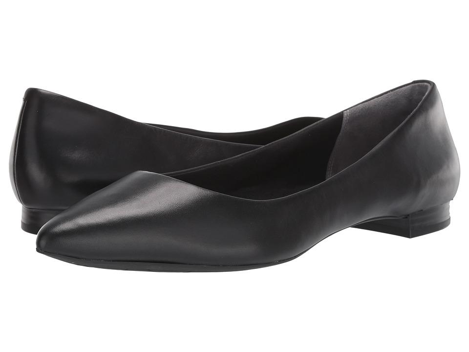 Rockport Total Motion Adelyn Ballet (Black Burn Calf) Women's Dress Flat Shoes