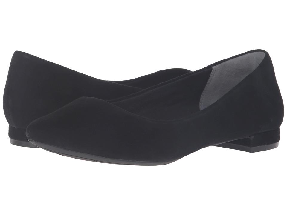 Rockport Total Motion Adelyn Ballet (Black Suede) Women's Dress Flat Shoes