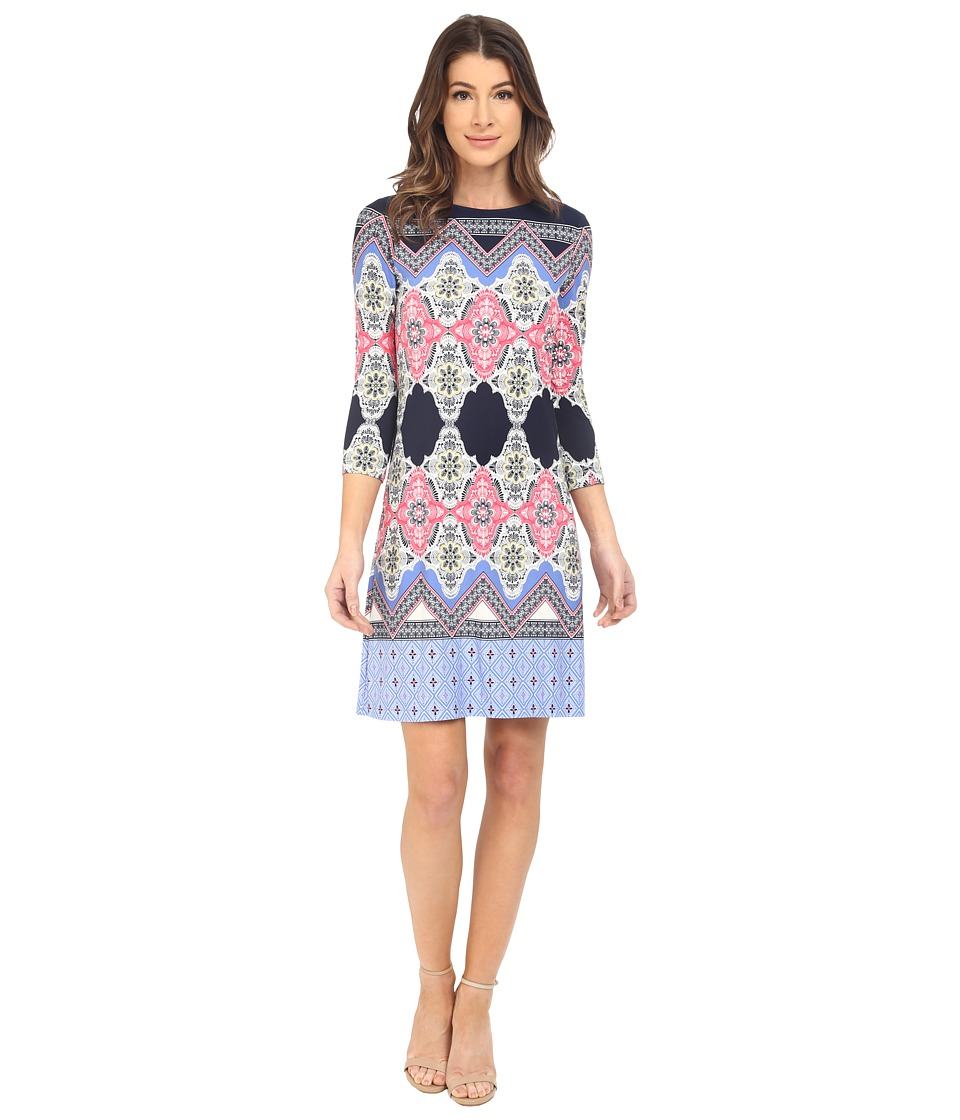 Donna Morgan 3/4 Sleeve Printed Jersey Midnight/Cabin Womens Dress
