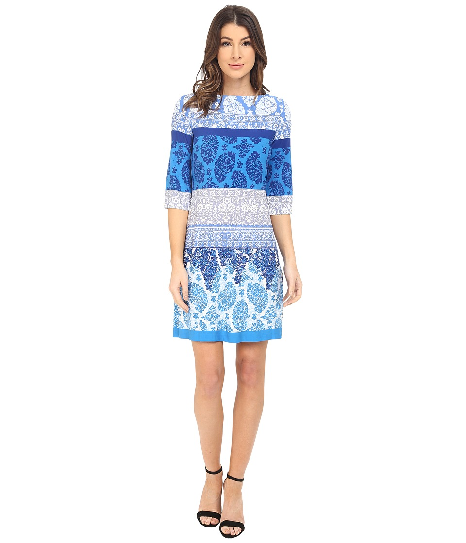 Donna Morgan 3/4 Sleeve Lace Print Jersey Shift Cabin Illumination Womens Dress