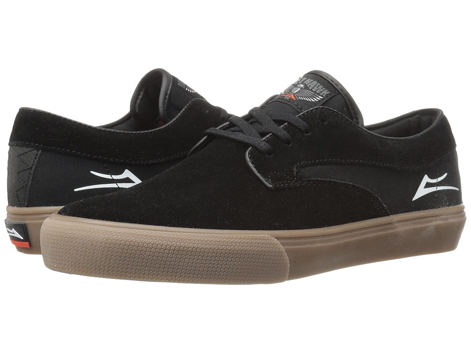 Lakai - Riley Hawk (Black/Gum Suede) Men