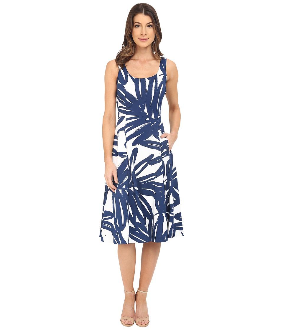 Donna Morgan Pique Knit Sleeveless Scoop Midi Dress Enamel/Ink Womens Dress