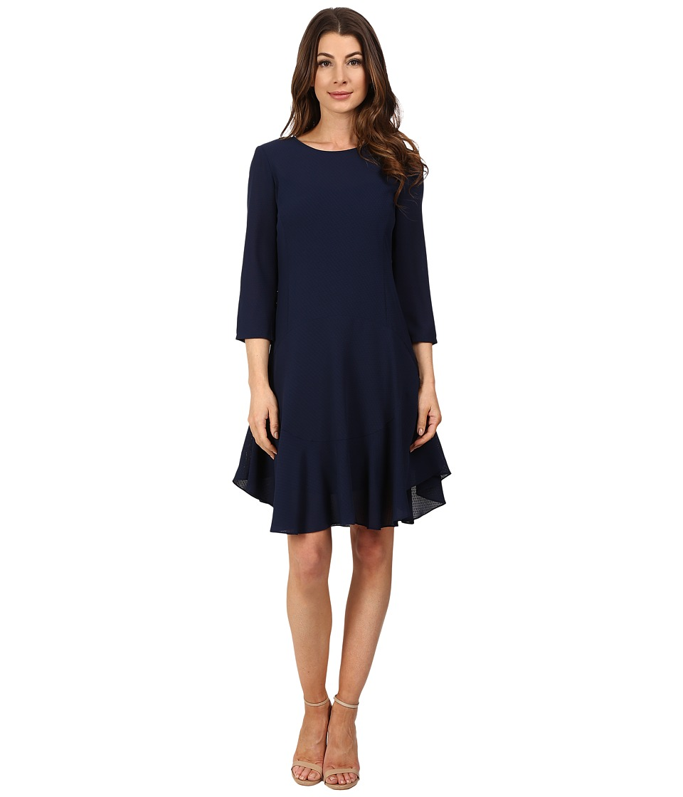 Donna Morgan 3/4 Sleeve Novelty Woven Dress with Asymmetrical Hem Midnight Womens Dress