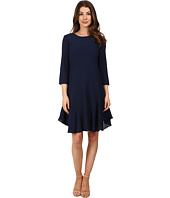 Donna Morgan - 3/4 Sleeve Novelty Woven Dress with Asymmetrical Hem