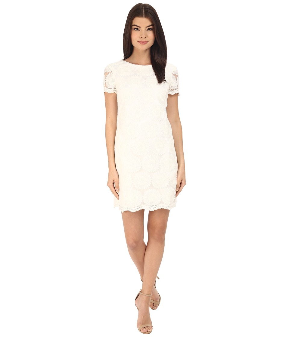 Donna Morgan Short Sleeve Shift Lace Dress White Womens Dress