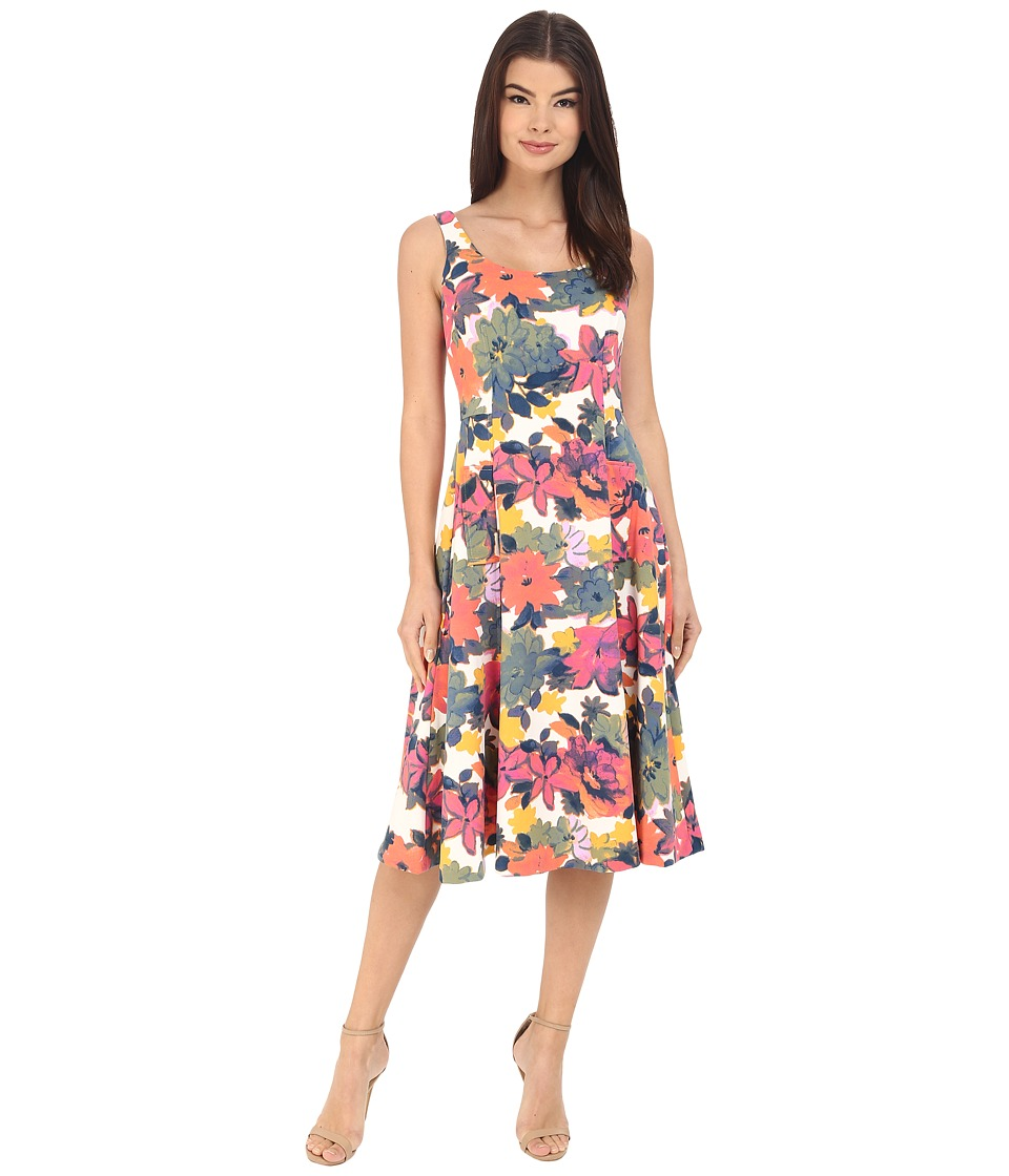 Donna Morgan Sleeveless Pique Printed Midi Dress Flux/Sun Womens Dress