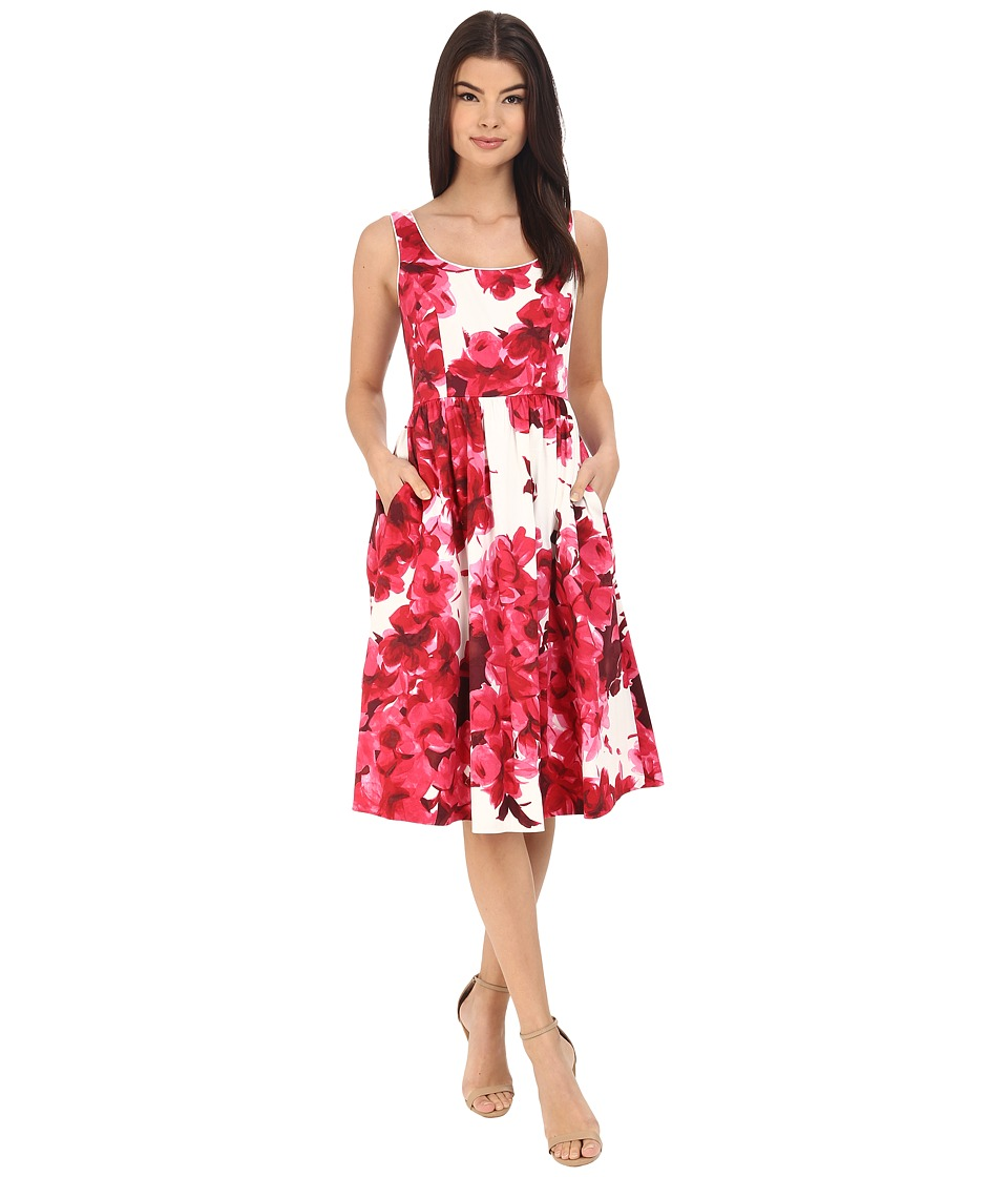 Donna Morgan Sleeveless Cotton Sateen Scoop Neck Tea Length with Full Skirt Red Womens Dress