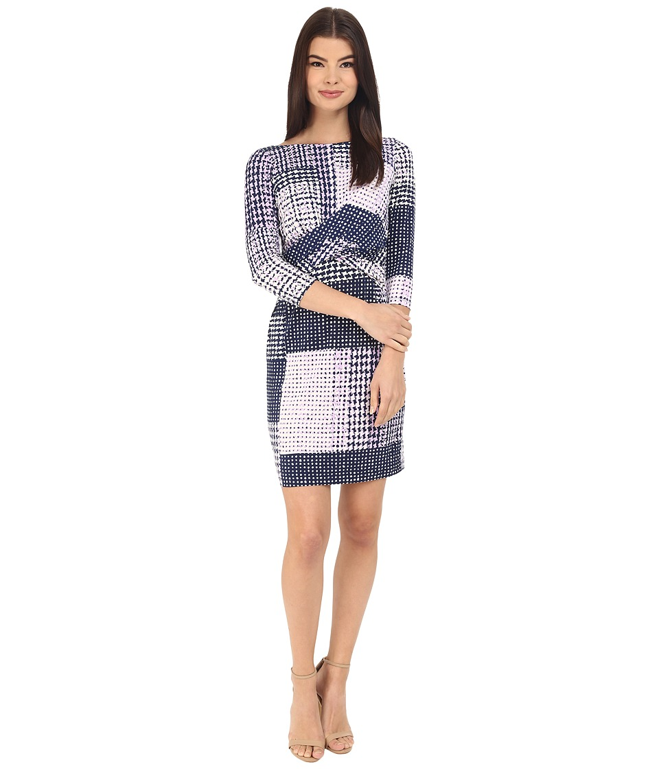 Donna Morgan 3/4 Sleeve Knot Front Jersey Shift Lightning Multi Womens Dress