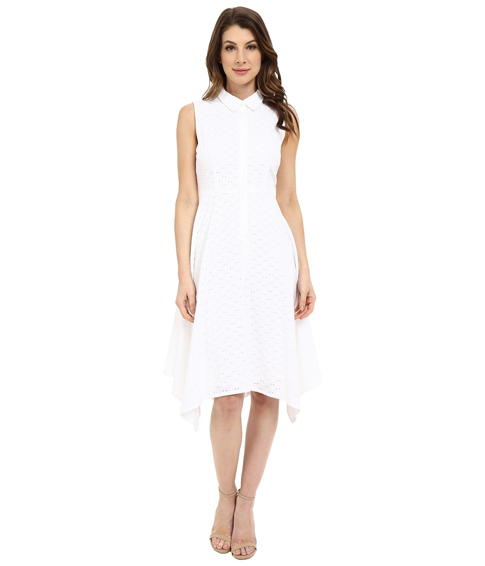Donna Morgan Sleeveless Collared Eyelet Shirtdress with Asymmetrical Hem White Womens Dress