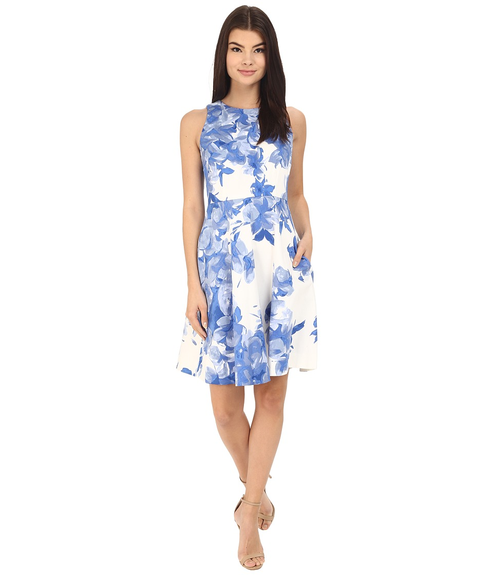 Donna Morgan Sleeveless Cotton Printed Fit and Flare Cabin Womens Dress