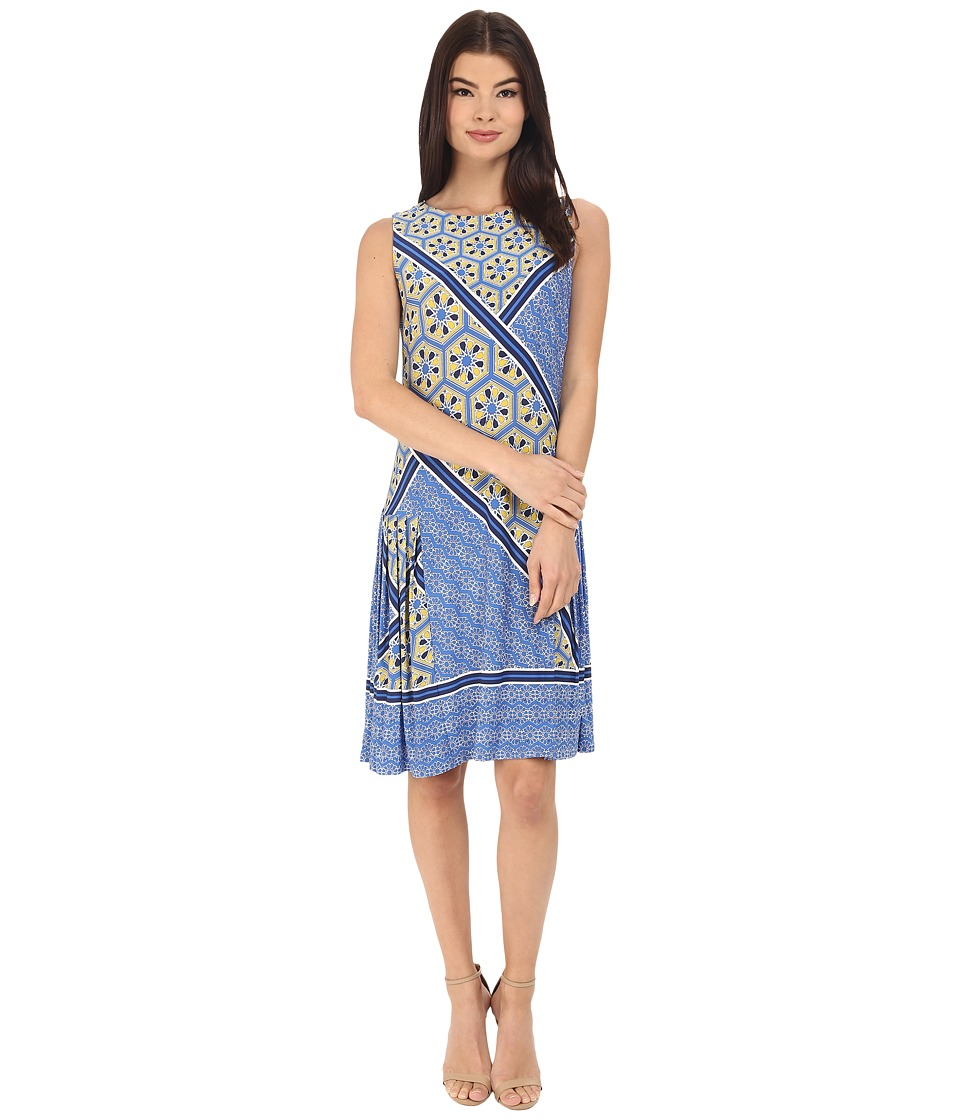 Donna Morgan Sleeveless Printed Jersey with Pleated Skirt Cabin/Ink Womens Dress