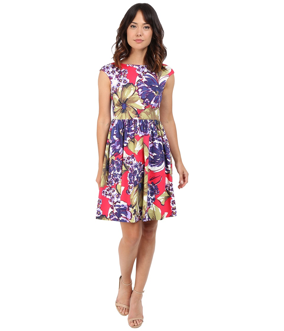 Donna Morgan Sleeveless Printed Cotton Sateen Tie Back Fit and Flare Flamboyant Multi Womens Dress