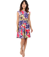 Donna Morgan - Sleeveless Printed Cotton Sateen Tie Back Fit and Flare